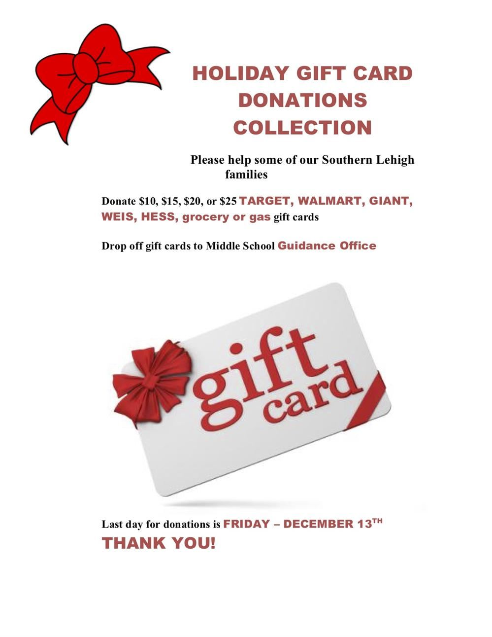 HOLIDAY GIFT CARD DONATIONS